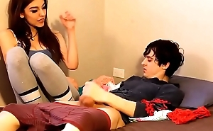 Step Sister Catch Step Brother Jerking off with her Panties