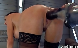 Squirting milf dildo fucked unconnected with machine