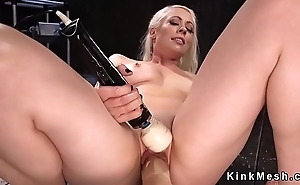 Blonde mature gets two fucking machines