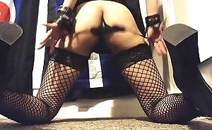 Hairy Ass Shaking in Fishnet Nylons and High Heels