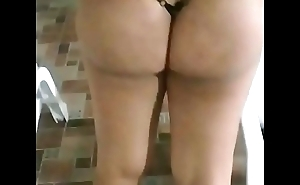 Bitch showing her thong