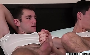 WIld ass fucking session with two Mormon twinks on the bed