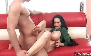 Small Babe with Lovely backside &_ with really skinny smooth-shaven pussy swallows hard on