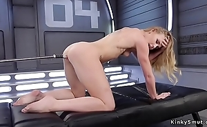 Small tits skinny blonde fucks machine