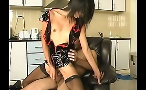 Hot skinny asian tgirl in latex gets sucked and fucked by a hot guy