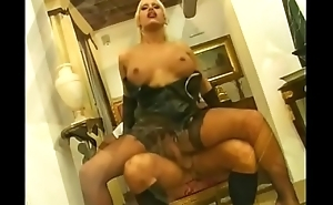 Blondie shemale bends over for a hardcore pounding