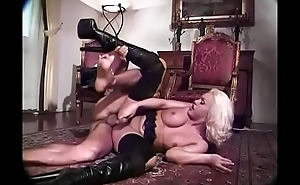 Platinum blonde shemale with nice cock takes dick in mouth, ass