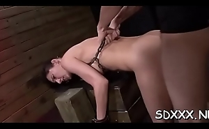 Coarse fellow tortures and penetrates a bounded petite slut