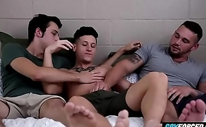GayForced.com - Horny Gay Threesome Boyfriends on Bed