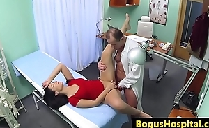 Doctor pussy fucks nurse and patient in office