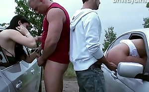 A pussy throughout the car window for anyone to fuck in public fillet bang dogging