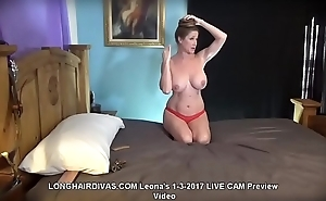 longhaired Leona blonde milf cums with vibrator &amp_ displays her floorlength hair