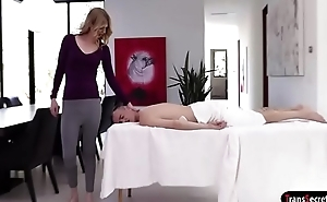 Ts Mandy Mitchell giving a massage that turns into fucking