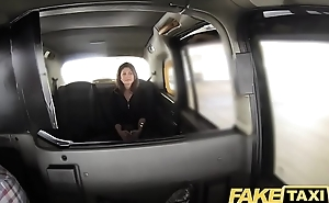 Fake Taxi big facial cum shot for brunette relative to stockings