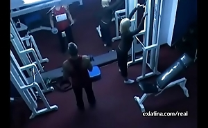 Hidden camera films old guy fucking young latin chick in gym