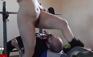 Pussy food on the weight machine. SAN093