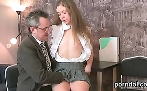 Lovesome schoolgirl was teased and reamed by her older schoolteacher