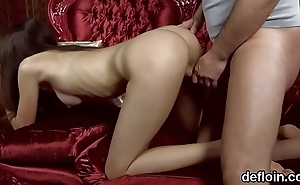Innocent nympho opens up spread pussy and gets deflorated
