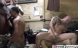 Stunning soldiers pounding in group before sleep