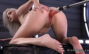 Blonde rides sybian and moans