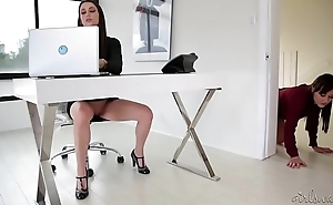 Georgia Jones licking her new boss pussy