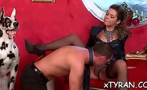 Hot sadomasochism festish with naughty mistress spanking will not hear of slave hard