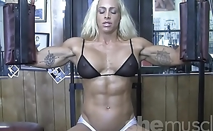 Blonde Sexy Female Bodybuilder in See Through Top Mill Out