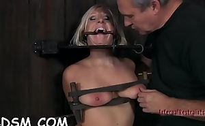 Bounded and terrified babe receives lusty body drawings